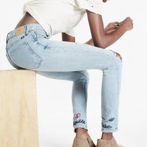 Lucky Brand Trouble Maker Embroidered Jeans Denim